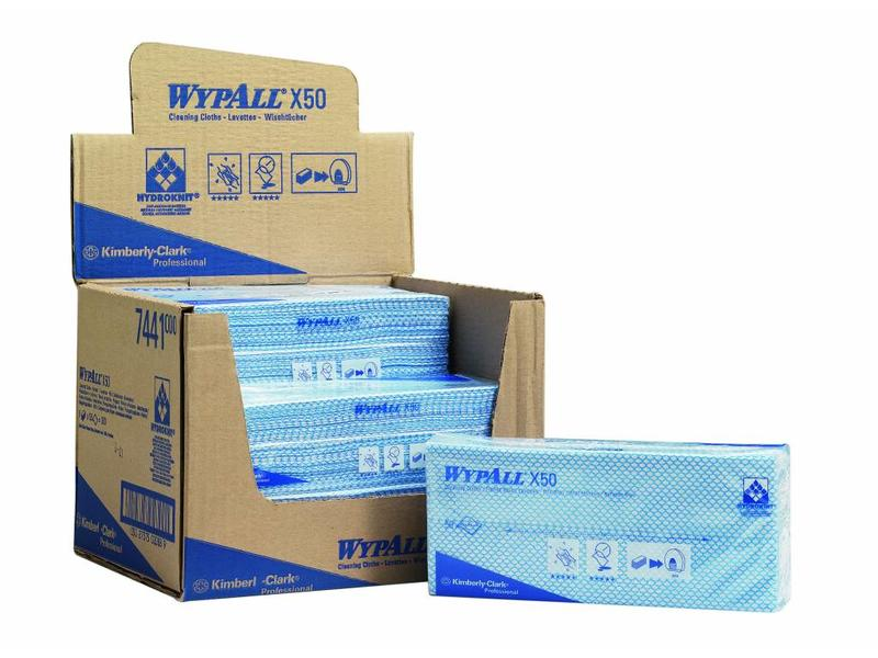Kimberly Clark WYPALL* X50 Sopdoeken - Intergevouwen - Blauw