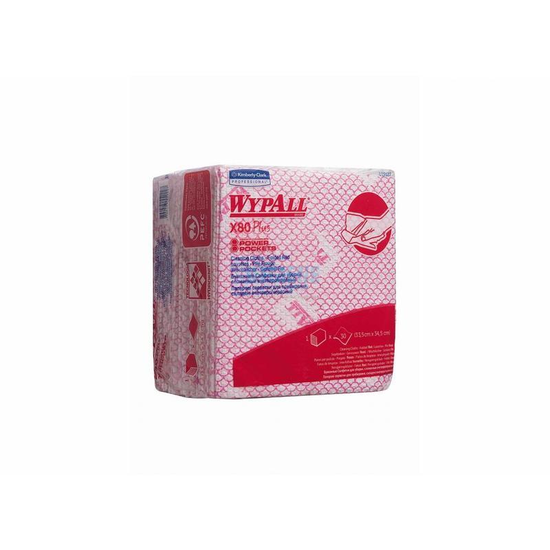 WYPALL* X80 Plus Sopdoeken - 1/4 Gevouwen - Rood