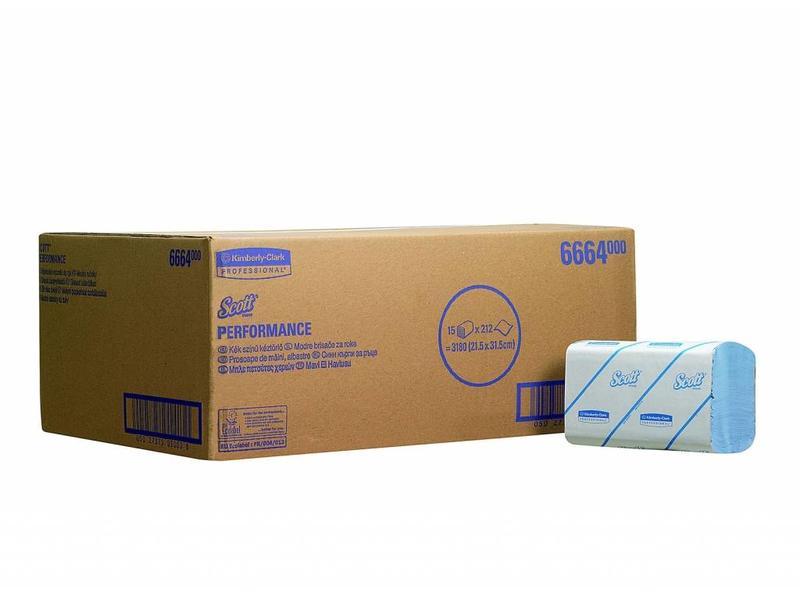 Kimberly Clark SCOTT® PERFORMANCE Handdoeken - Intergevouwen / Medium - Blauw