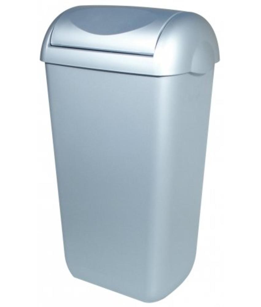 PlastiQline Afvalbak kunststof RVS look 23 liter swings