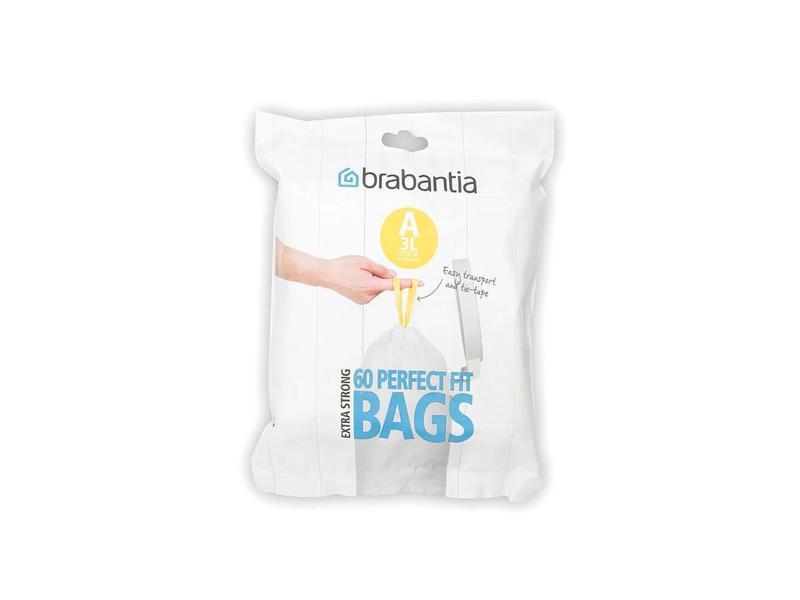 Afvalzak 3 liter met trekbandsluiting (A), Brabantia 12 rol à 20 stuks