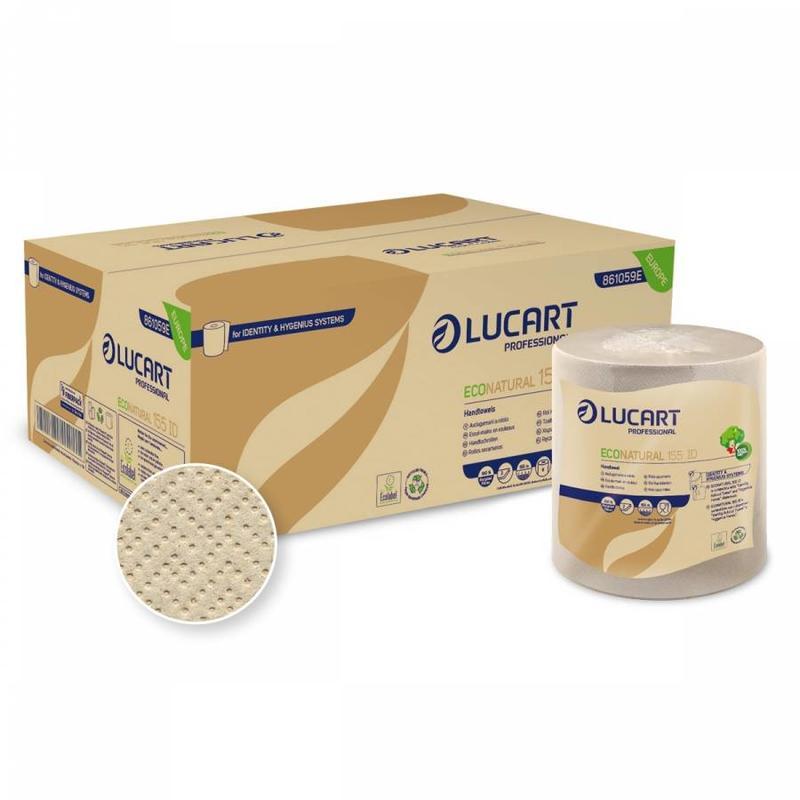 Lucart Eco Natural Handdoekrol Recycled 2-laags - 6 rollen