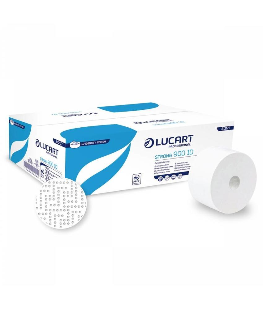 Lucart Jumbo Toiletpapier Cellulose Wit 2-laags - 12 rollen