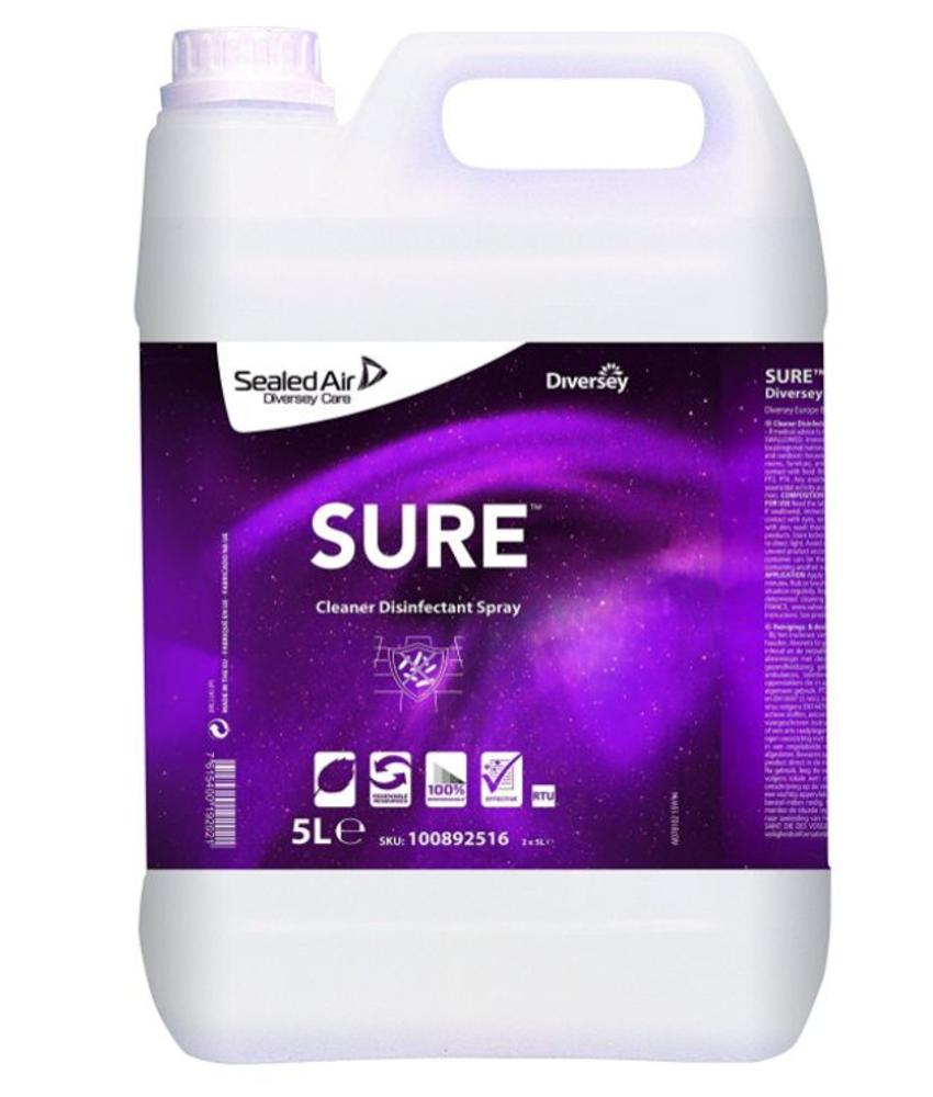 SURE Cleaner Disinfectant Spray - gebruiksklare reinigings- en desinfectiespray 5L