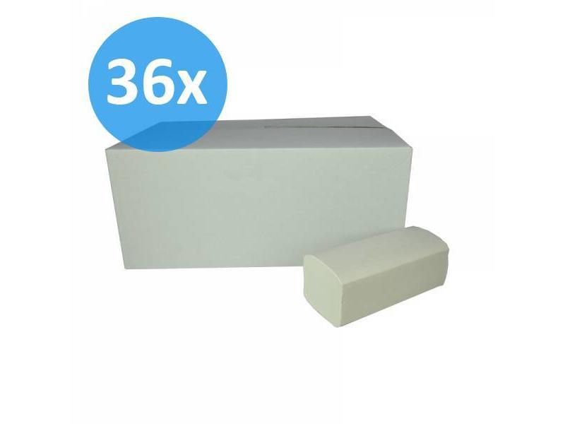 Eigen merk PALLET Vouwhanddoekjes Z-vouw, 2-laags, recycled tissue wit
