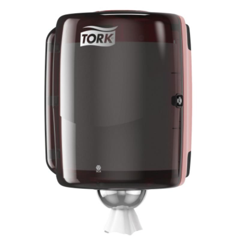 Tork Combi Rol Poetspapier Dispenser Kunststof Zwart/Rood W2