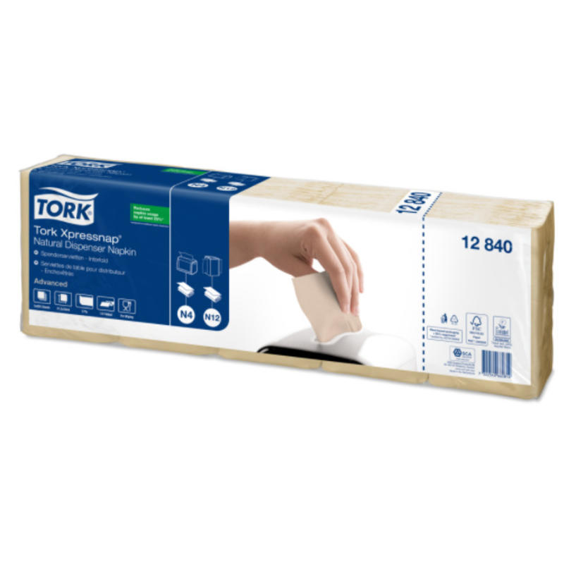 Tork Xpressnap® dispenserservet 21,6x33cm 1-laags 1/4-vouw Natural 5x225x8