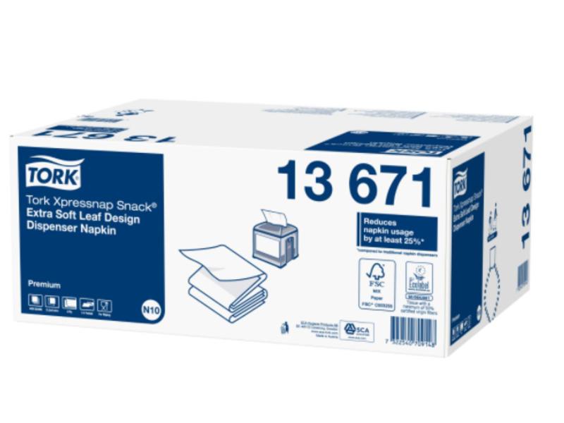 Tork Tork Xpressnap Snack® dispenserservet 21,6x21,6cm 2-laags 1/4-vouw Leaf Design wit 5x100x8