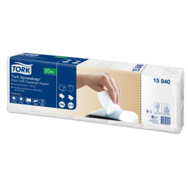 Tork Xpressnap® dispenserservet 21,6x33cm 2-laags 1/4-vouw wit 5x100x8