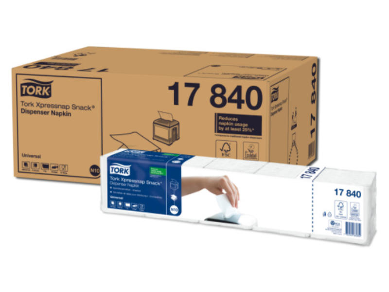 Tork Tork Xpressnap Snack® dispenserservet 21,6x21,6cm 1-laags 1/4-vouw wit 5x225x8