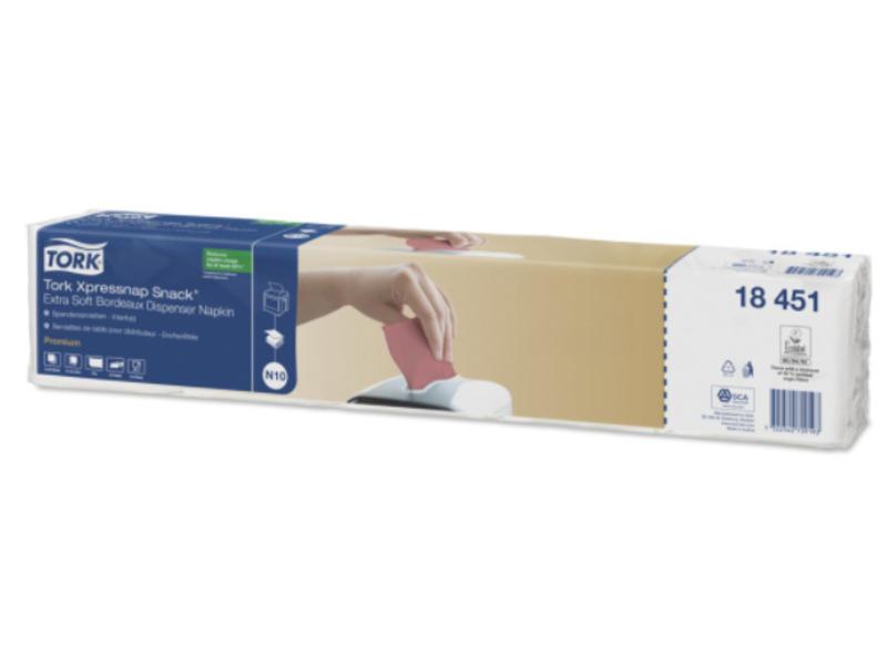 Tork Tork Xpressnap Snack® dispenserservet 21,6x21,6cm 2-laags 1/4-vouw Bordeaux 5x100x8