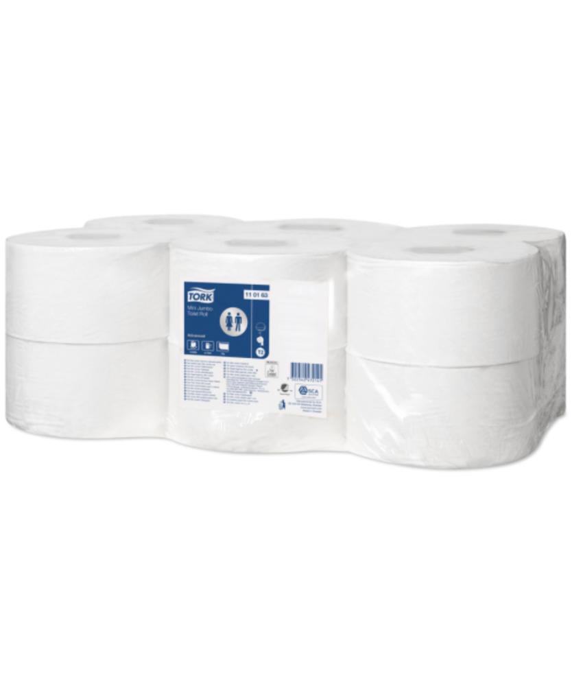 Tork Mini Jumbo Toiletpapier 1-laags Wit T2 Advanced