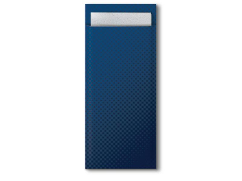 Tork Tork bestekzakje midnight blue met 2-laags servet wit 5x100