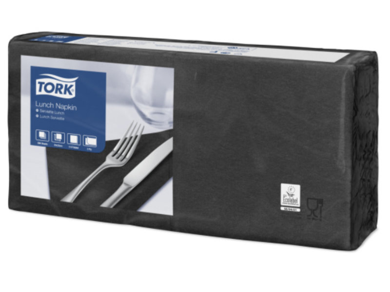 Tork Tork tissue servet 33x33cm 2-laags 1/4-vouw zwart 10x200