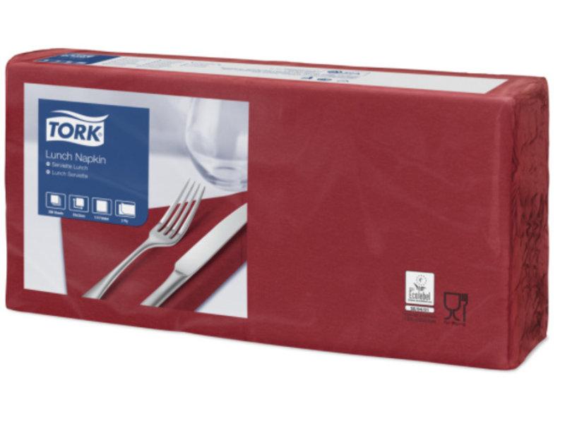 Tork Tork tissue servet 33x33cm 2-laags 1/4-vouw burgundy 10x200