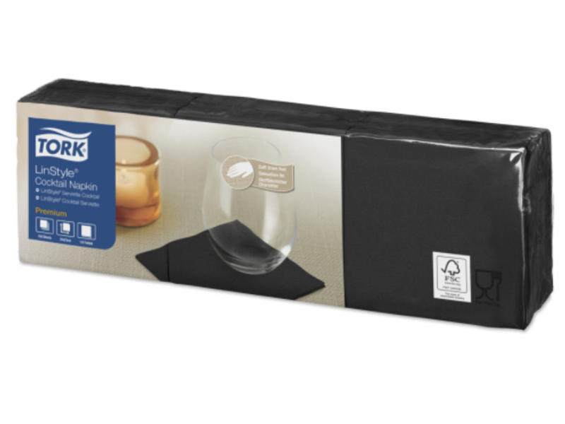 Tork Tork LinStyle® servet 23x23cm 1/4-vouw zwart 10x150