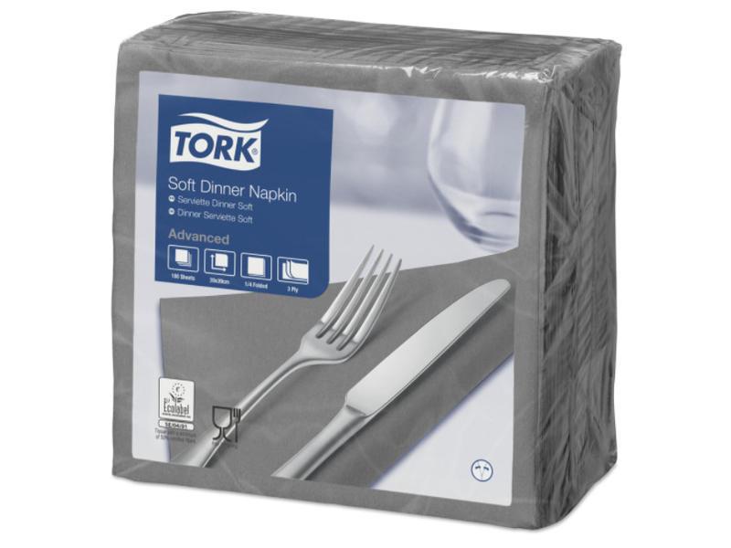 Tork Tork tissue servet 39x39cm 3-laags 1/4-vouw grijs 12x100