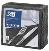 Tork Tork tissue servet 39x39cm 3-laags 1/4-vouw zwart 12x100