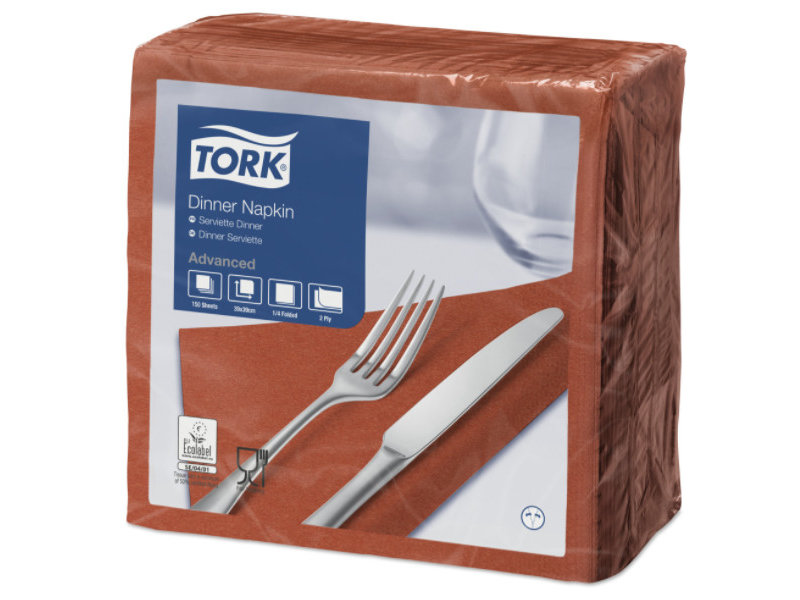 Tork Tork tissue servet 39x39cm 2-laags 1/4-vouw terracotta 12x150