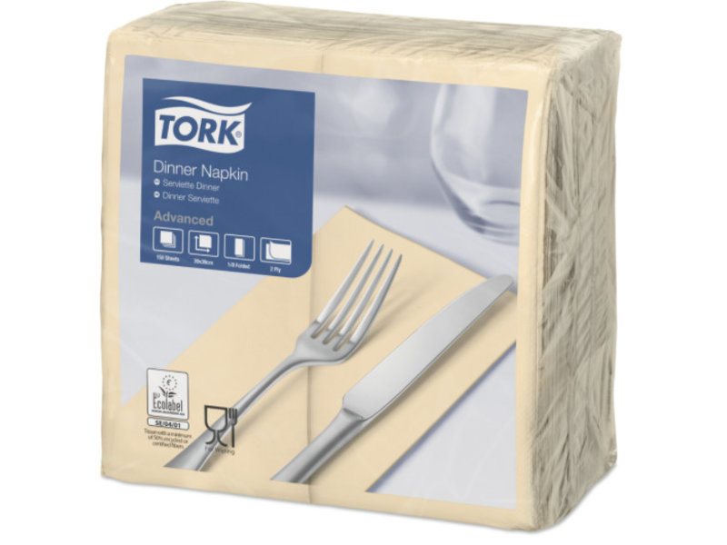 Tork Tork tissue servet 39x39cm 2-laags 1/8-vouw cream 12x150