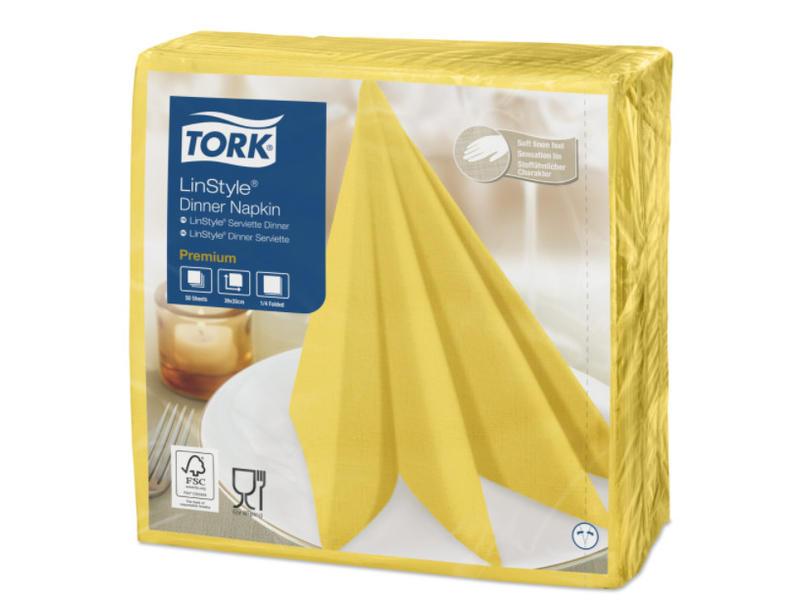Tork Tork LinStyle® servet 39x39cm 1/4-vouw passion yellow 12x50
