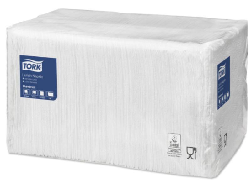 Tork Tork tissue servet 33x33cm 1-laags 1/4-vouw wit 9x500