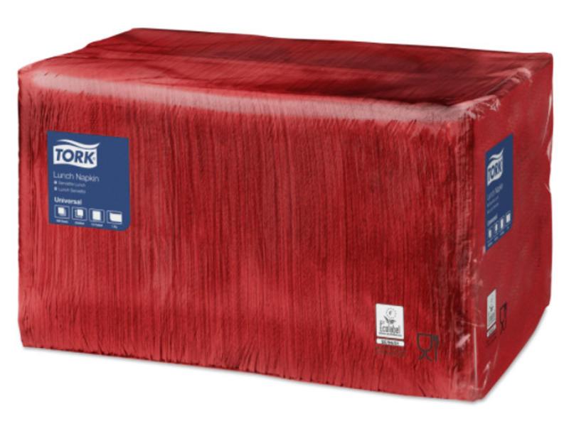 Tork Tork tissue servet 33x33cm 1-laags 1/4-vouw rood 9x500