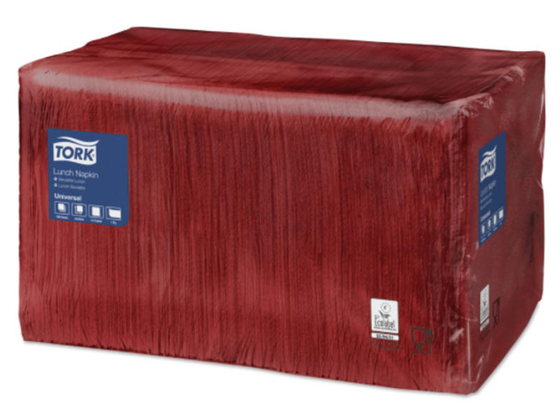 Tork Tork tissue servet 33x33cm 1-laags 1/4-vouw burgundy 9x500