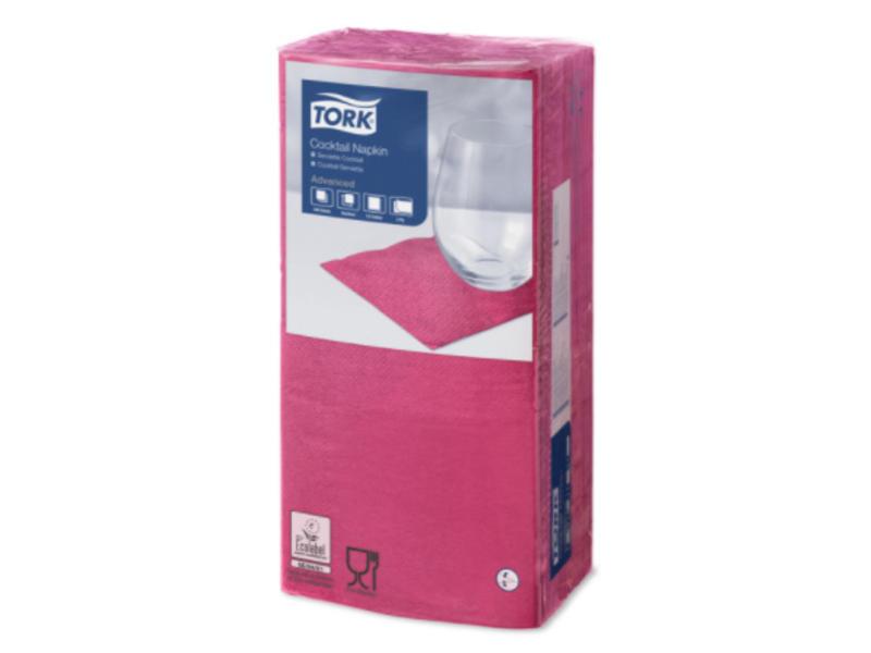 Tork Tork tissue servet 23x23cm 2-laags 1/4-vouw fuchsia 10x300