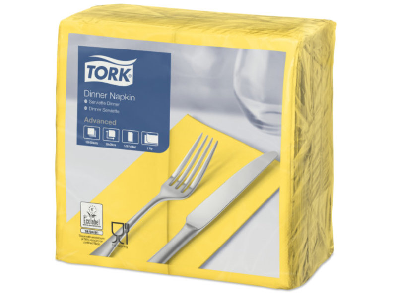 Tork Tork tissue servet 39x39cm 2-laags 1/8-vouw passion yellow 12x150