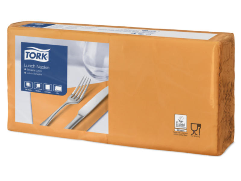 Tork Tork tissue servet 33x33cm 2-laags 1/4-vouw orange 10x200