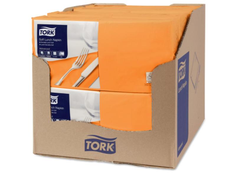 Tork Tork tissue servet 33x33cm 3-laags 1/4-vouw oranje 10x150