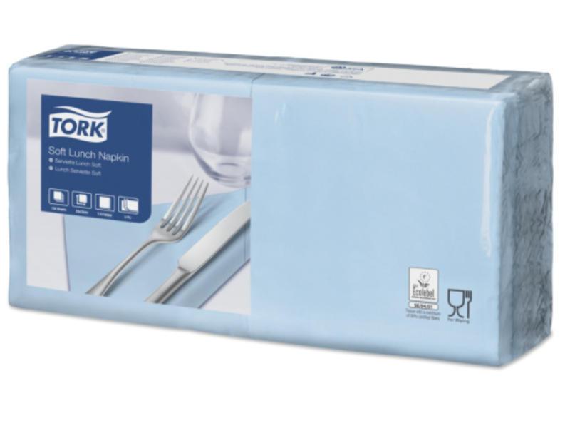 Tork Tork tissue servet 33x33cm 3-laags 1/4-vouw licht blauw 10x150
