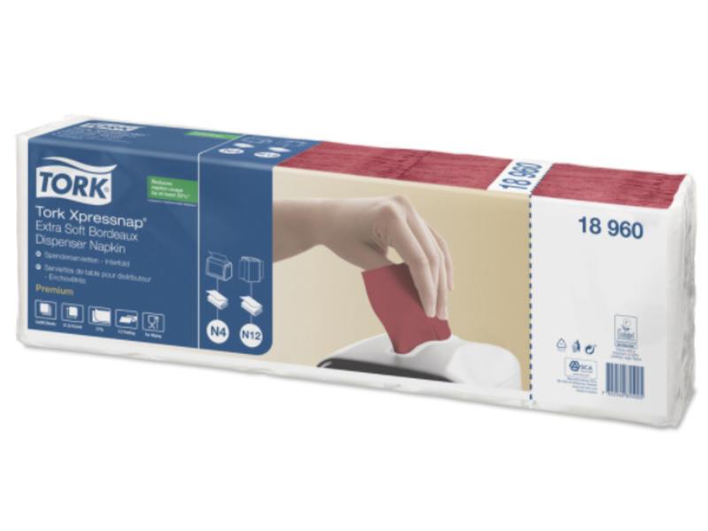 Tork Tork Xpressnap® dispenserservet 21,6x16,5cm 2-laags 1/2-vouw bordeaux rood