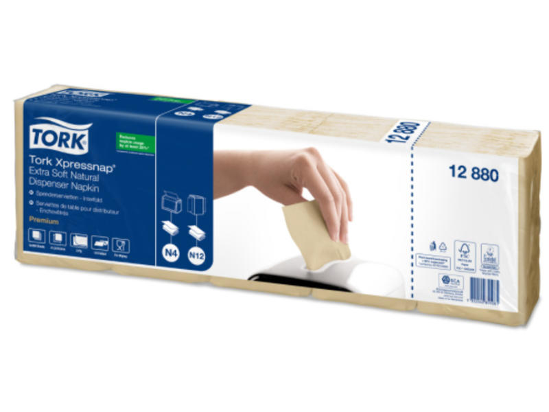 Tork Tork Xpressnap® dispenserservet 21,6x16,5cm 2-laags 1/2-vouw naturel