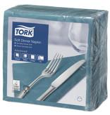 Tork Tork tissue servet 39x39cm 3-laags 1/4-vouw Blauwgroen 12x100