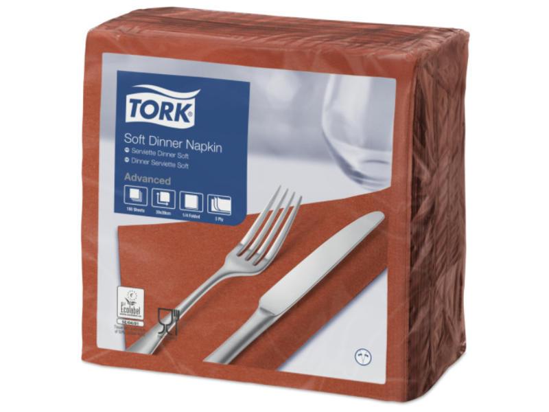 Tork Tork tissue servet 39x39cm 3-laags 1/4-vouw Terracotta 12x100