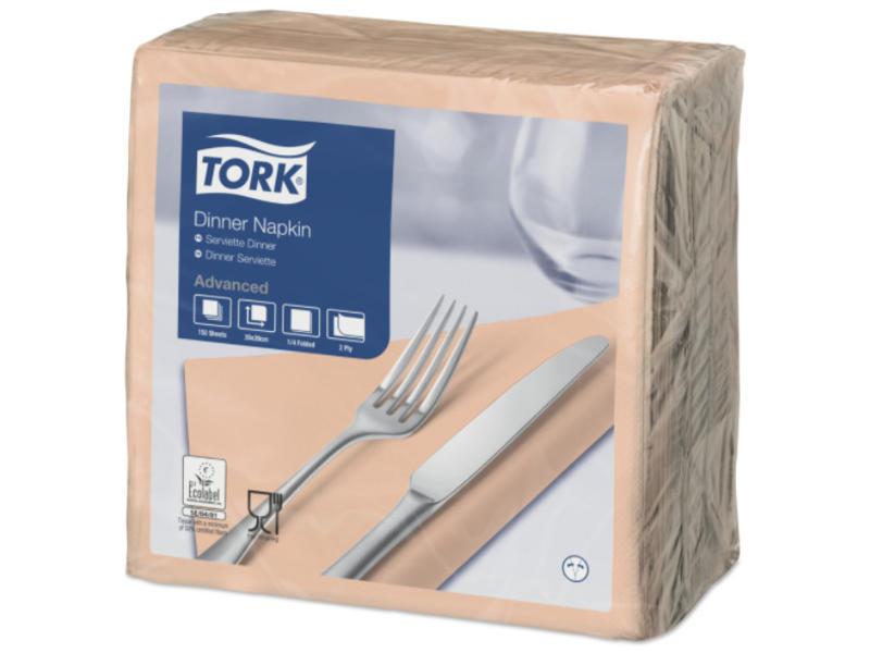 Tork Tork tissue servet 39x39cm 2-laags 1/4-vouw perzik 12x150