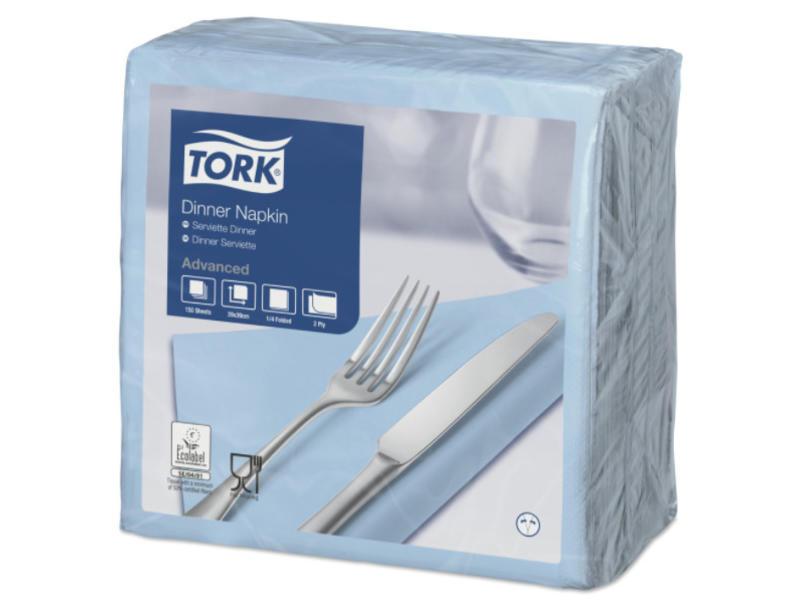 Tork Tork tissue servet 39x39cm 2-laags 1/4-vouw lichtblauw 12x150