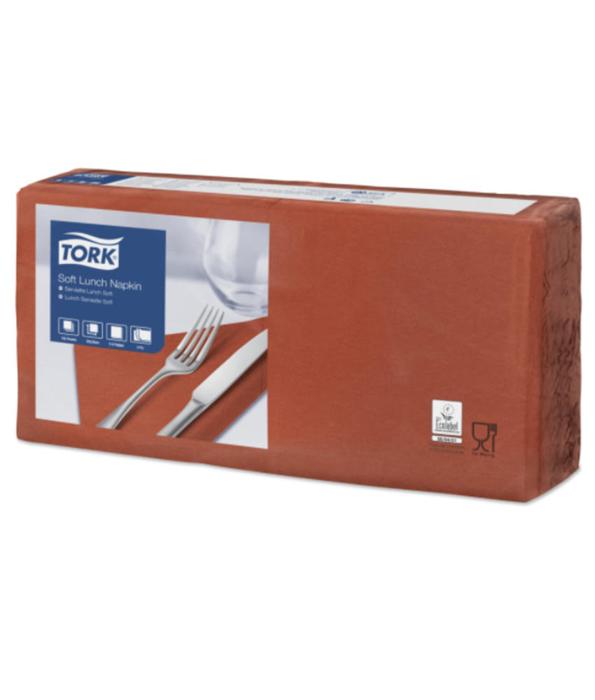 Tork tissue servet 33x33cm 3-laags 1/4-vouw terracotta 10x150