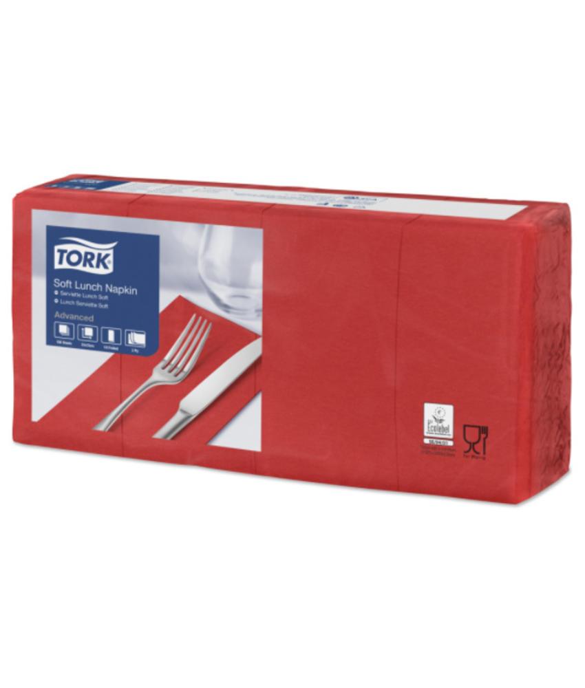 Tork tissue servet 33x33cm 3-laags 1/8-vouw rood 10x150