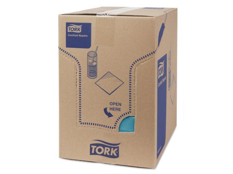 Tork Tork tissue servet 23x23cm 2-laags 1/4-vouw blauwgroen 10x300