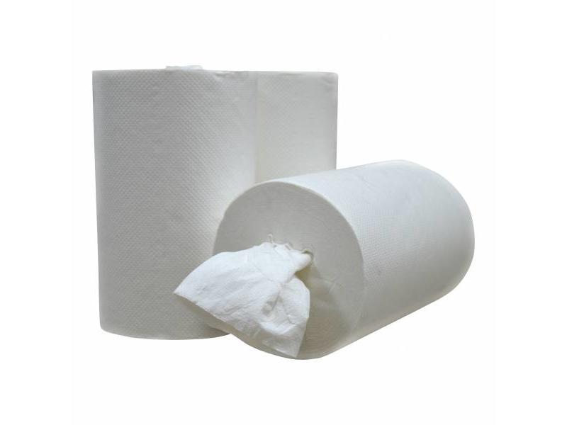 Eigen merk Poetsrollen Mini, kokerloos, 12 x 120M, 1-laags, cellulose, wit