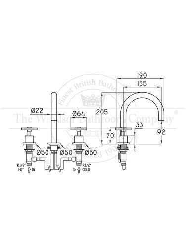 Steel & Brass Industrie-3-Loch-Waschtisch-Armatur SB321 mit rundem Griff