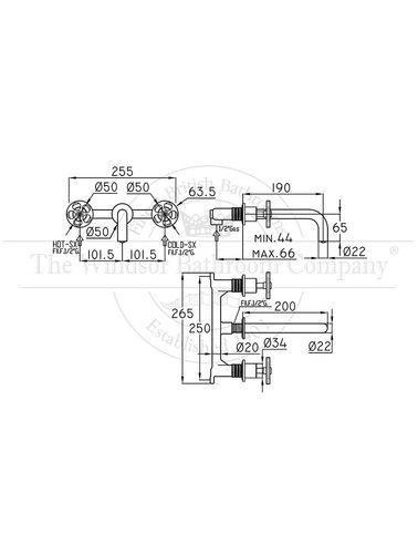 Steel & Brass Industrie-3-Loch-Waschtischarmatur Wand montiert SB740 Runde Griff