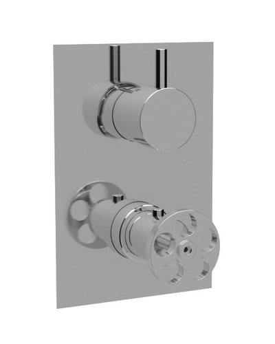 Steel & Brass Industrial concealed shower thermostat SBT05 with round handle