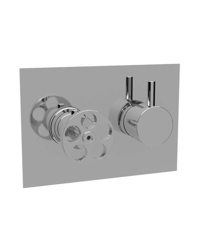 Steel & Brass Industrial concealed shower thermostat SBT05H with round handle