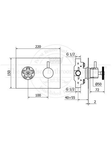 Steel & Brass Industriele inbouw douchethermostaat SBT05H met ronde greep