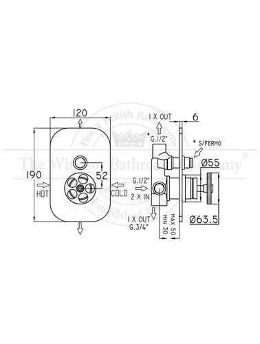 Steel & Brass Industrie ausgestattet Bad / Dusche Mischer SB050 runden Griff