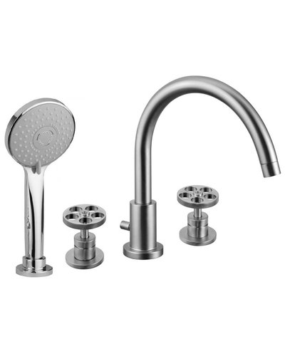 Steel & Brass Industrial 4-hole bath mixer with SB260 round handle